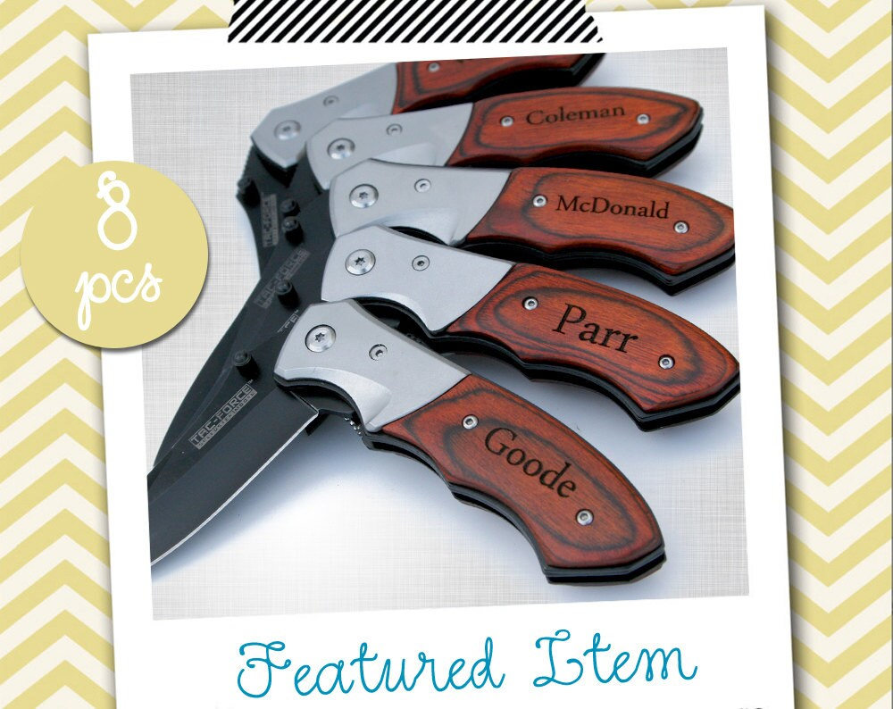 8 groomsmen gifts personalized knife engraved knife engraved. Black Bedroom Furniture Sets. Home Design Ideas
