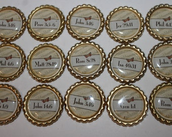 Bible Verse Geocache Coin bottle caps - 15 Piece Set - Great Way To Witness
