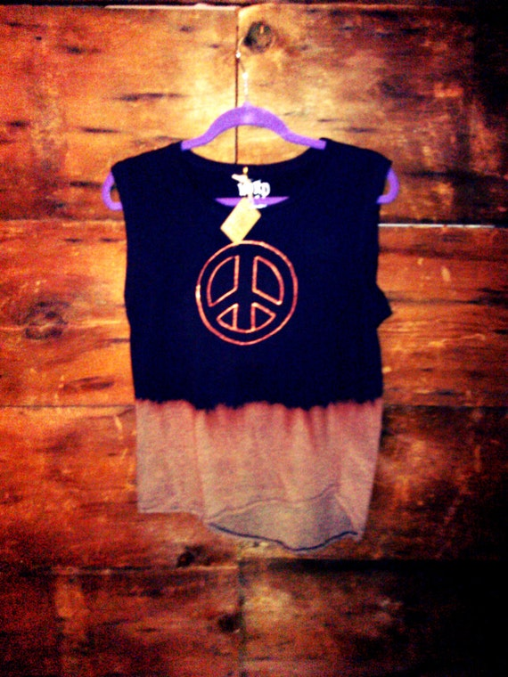 Distressed Dip Dye Peace Tank