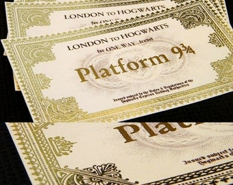 Hogwarts Express train ticket prop replica with golden finish