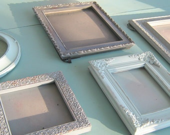 Gray and Mint Picture Frame Set Shades of Gray Ornate Photo Frames Wall Collage Standing Backs and Hanging Five Frames Backs