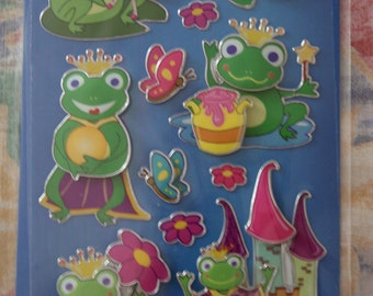 Stickers, frogs, 3D, 1 sheet (233)