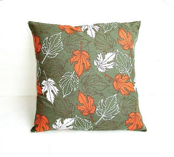 Items similar to Hunter Green Print Fall 16x16 Decorative Pillow Cover With Rust And White ...