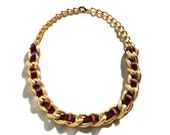Chunky Gold Chain Coloured Ribbon Necklace