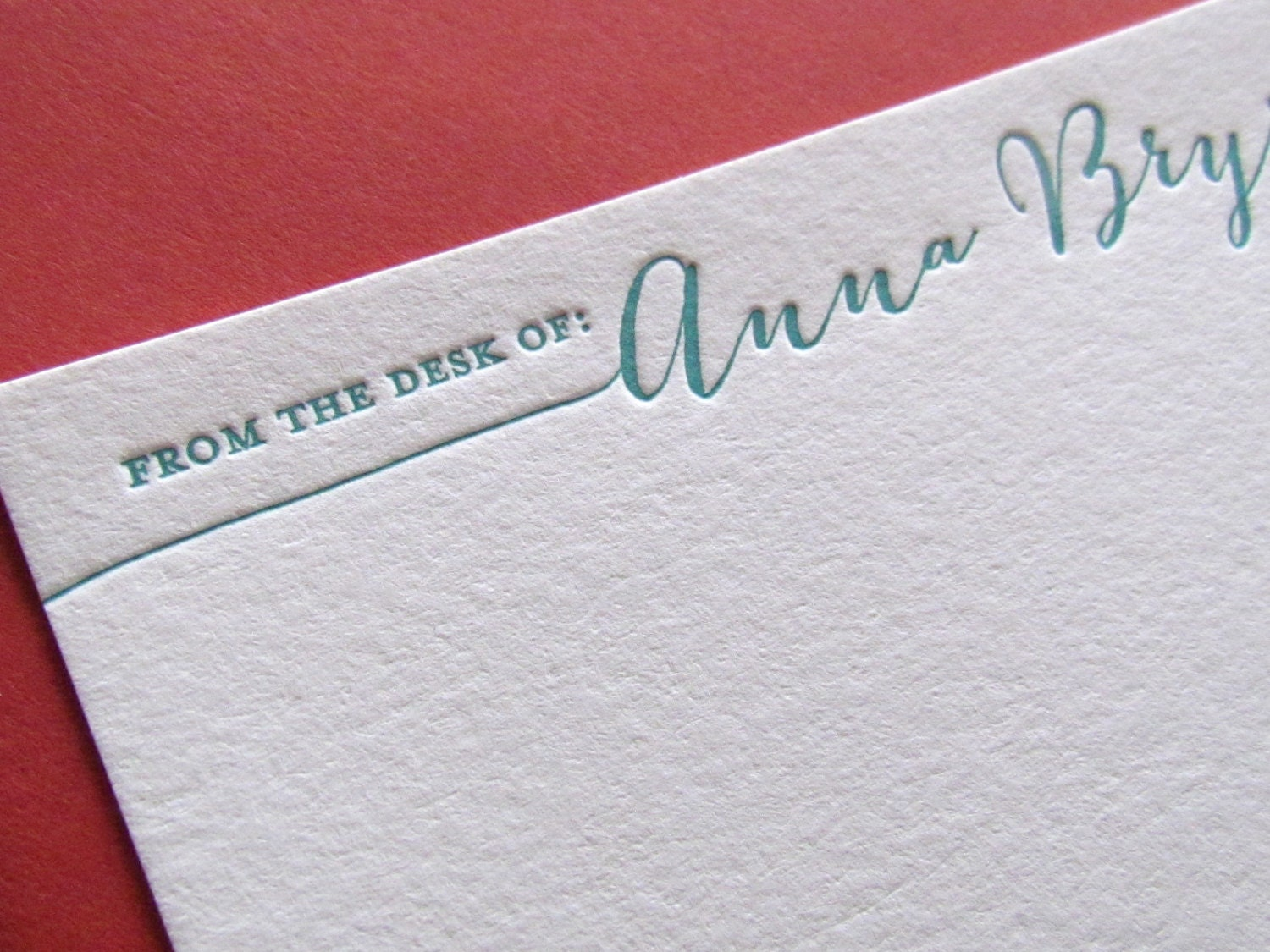 Letterpress from the desk of personalized stationery set