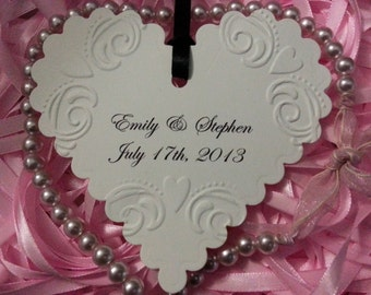 50  WISHES TAGS Custom Bride and Groom Wedding Date Beautifully Embossed Heart