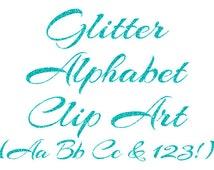 Turquoise Alphabet Clipart, Aqua Glitter Letters, Numbers Clipart, Cursive Alphabet, Scrapbook Elements, Instant Download - DIMAGE0035