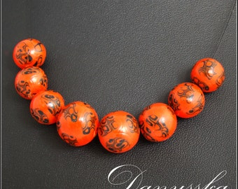Orange and Black Polymer Clay Handmade Necklace