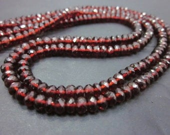Garnet Mozambique Faceted rondelle 6 to 7mm ,45pieces or 7 to 8mm, 30pieces     AAA Quality