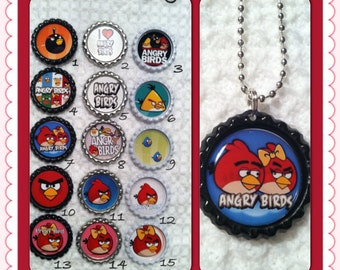 Angry Birds Bottle Cap Necklaces