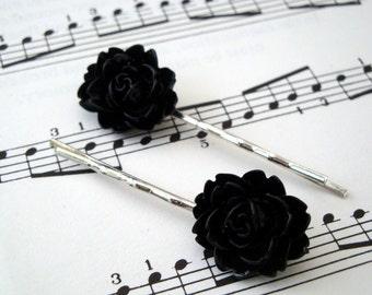 Black flower bobby pins hair grip set on silver slide vintage inspired