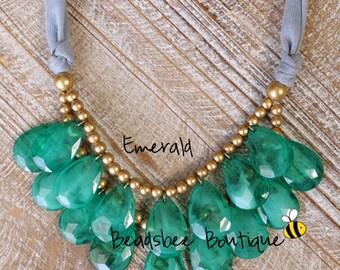 Anthropologie Emerald Necklace, Bib Necklace, Emerald Statement Necklace, Teardrop Necklace, Statement Necklace