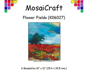 MosaiCraft Pixel Craft Mosaic Art Kit 'Flower Fields' (Like Mini Mosaic and Paint by Numbers)