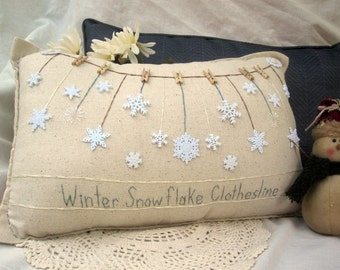 Winter Snowflake Clothesline Pillow (Cottage Style)