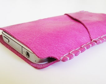 iPhone 5 leather wallet, iPhone 5 sleeve, handmade Leather Wallets, leather case, iPhone 5 cover, Genuine Leather, Fuschia Pink