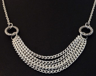 Womens Silver Plated, Cable Chain Necklace