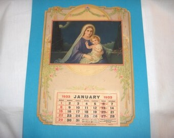 1933 CATHOLIC CALENDAR with Mary and Baby Jesus