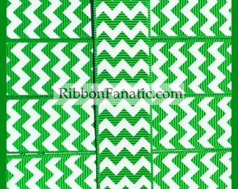 "5 Yards  7/8"" Emerald Green and White Chevron  Grosgrain Ribbon"