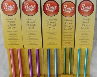 Boye Knitting Needles, Sizes 1-17, 10 inches,  14 inches, Single Point, Knitting Needles, Aluminum Needles, Single Point Knitting Needles,