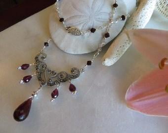 Garnet Necklace, Garnet Briolette Necklace, Faceted Garnet Necklace, Marcasite Necklace, Sterling Silver Necklace, Swarovski Crystal Silver