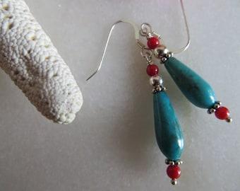 Turquoise earrings, Red coral earrings, December Birthstone earrings, Sterling silver earrings, Southwest earrings
