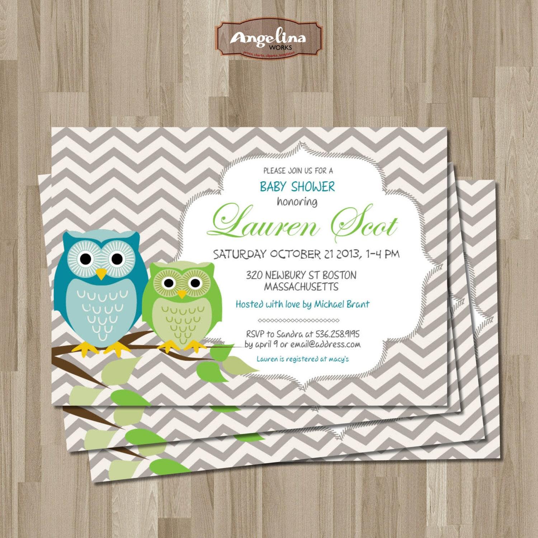 OWLS Baby Shower Invitation. DIY Card. Digital Printable Card