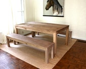 72x30 SET Parsons Table and Benches Salvaged Wood