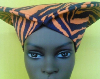 Orange, Black Zebra Print Hat