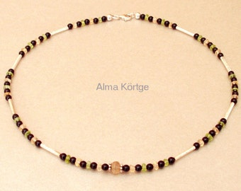Necklace Onyx with Citrine and Peridot necklace