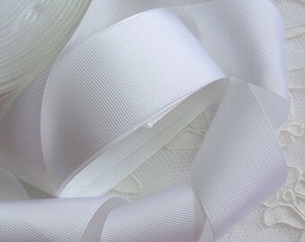 5 yards 1.5 inches Grasgrain Ribbon in White  RG-15-05