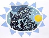 Modern Collage, Blue trees,Scandanavian Art, lavender blues, silhouette, vignette, Print