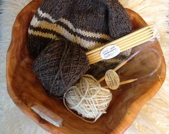 Wool knit hat kit: Organic natural undyed brown and ecru yarn from Shetland sheep