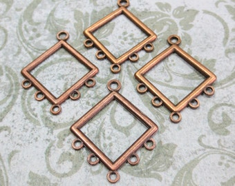 Modern Diamond 1 to 5 Copper Plate Chandelier Links, 6 Links - Item 578