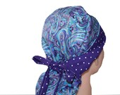 Surgical Scrub Hat Scrub Cap Flirty Front Fold Ponytail scrub hat Tie Back Blue Purple Paisley Dots  -  2nd item ships Free