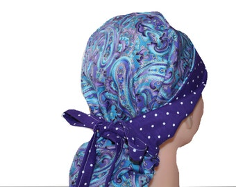 Surgical Scrub Hat Scrub Cap Flirty Front Fold Ponytail scrub hat Tie Back Blue Purple Paisley Dots  -  2nd Item Ships FREE