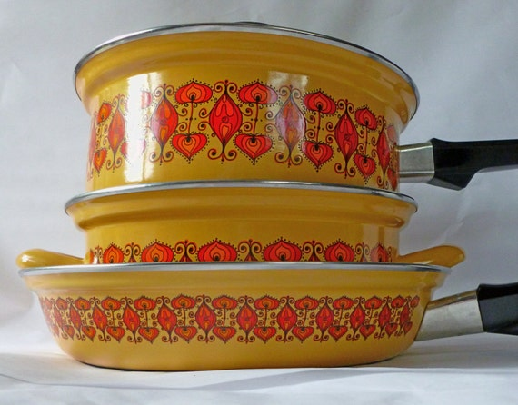 Vintage Austria Email Enamel Cookware 5 Piece Set Unused