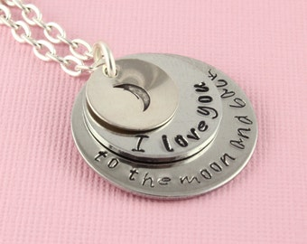 I Love You to the Moon and Back Necklace - Silver Necklace - Personalized Necklace - Christmas for Mom or Grandma - Moon Necklace