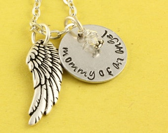SALE - Double Sided Personalized Birthstone Angel Wing Remembrance Necklace - Memorial Jewelry - Angel Baby - Mother's Day Gift