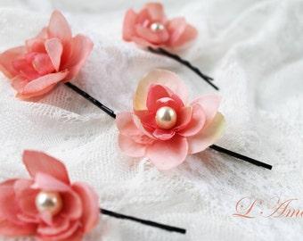 Wedding Flower Hair Pin Set of 4 Coral Pink Light Pink Spring Green Ivory White