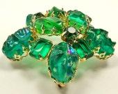 Green Domed Brooch / Art Glass, Crystal / Vintage