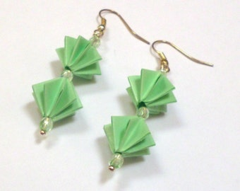 Jade Green Star Bead Earrings - Paper Earrings