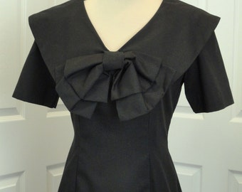LBD BIG bow Cotton Shortsleeved Portrait Collar V-neck Sheath Wiggle Dress M L