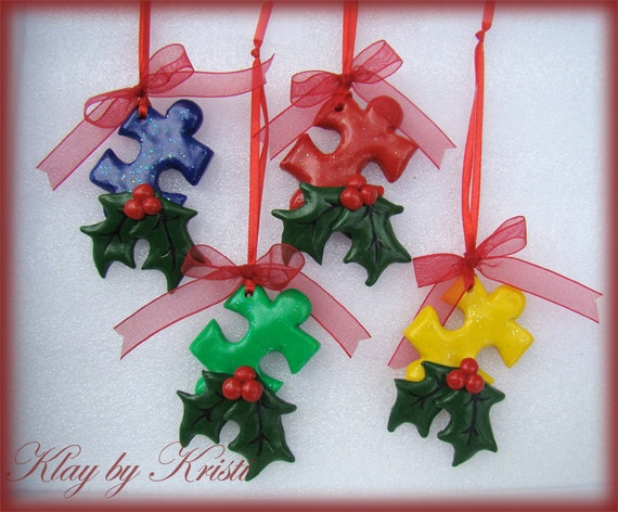 Autism Awareness Puzzle Piece Christmas Ornaments Great