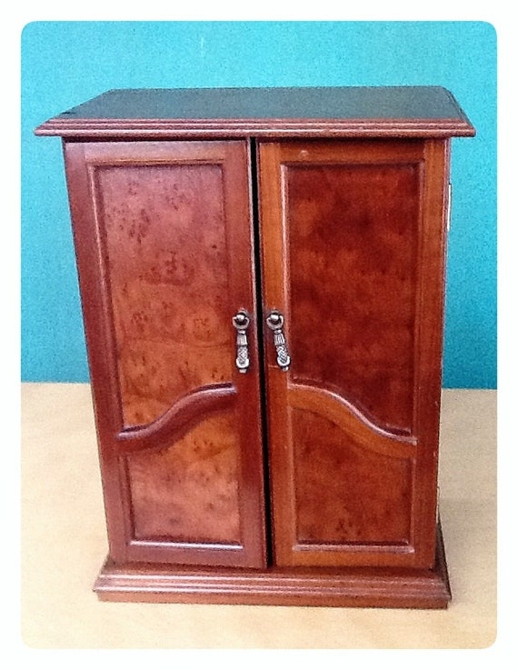 Solid wood jewelry armoire vintage box faux burl