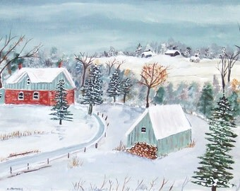 "Folk art Acrylic Painting ""Home For the Holidays """