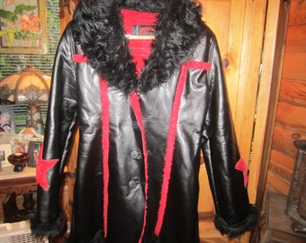Vtg Daang Goodman Tripp N.Y.C. Faux Leather And Fur 3/4 Length Jacket