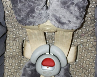 Gray Minky Car Seat Strap and Buckle Cover Set