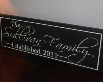 Personalized Family name signs Custom Wooden signs last name sign  Painted Custom wedding gift Established family sign Anniversary Plaque