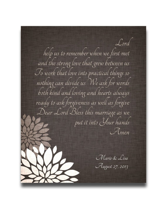 Wedding Gift Personalized Christian Marriage Blessing Prayer
