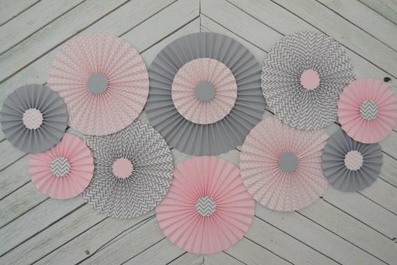pink grey paper fans rosettes decorations for girl baby shower